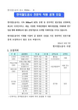 한국철도공사 전문직 직원 공개 모집