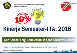 Capaian Kinerja EBTKE Semester 1 Tahun 2016