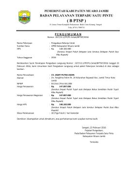 B PTSP - LPSE Kabupaten Muaro Jambi