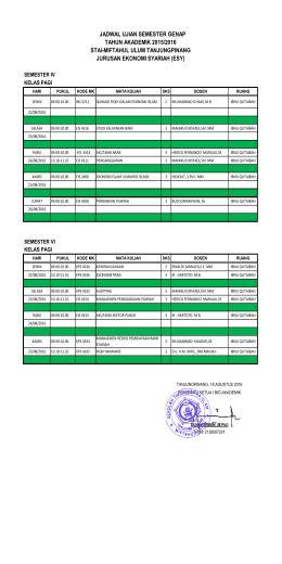 Jadwal UAS Jurusan ESY Semester Genap 2015-2016