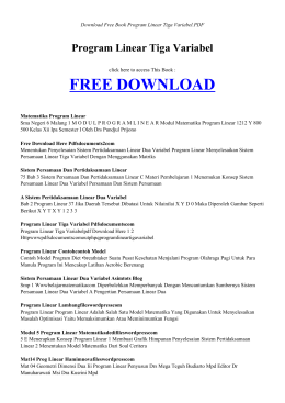 PROGRAM LINEAR TIGA VARIABEL | Free PDF Book