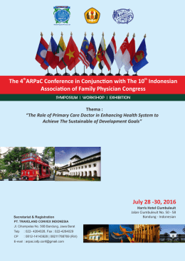 July 28 -30, 2016 The 4 ARPaC Conference in Conjunc on