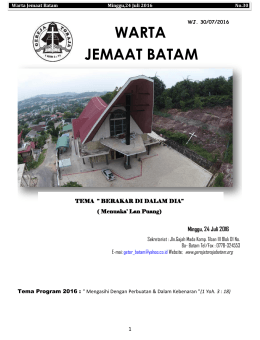 Warta Jemaat, 24 Juli 2016 - GEREJA TORAJA JEMAAT BATAM