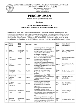 PENGUMUMAN - Universitas Negeri Malang