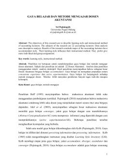 JUDUL : Analisis Metode Pengajaran Yang dilakukan oleh Dosen
