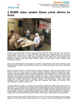 5 BUMN Jabar seleksi Siswa untuk dikirim ke Sulut