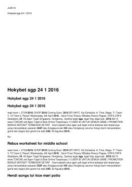 Hokybet sgp 24 1 2016