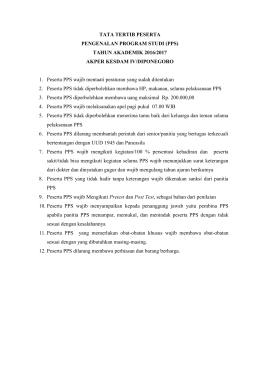 TATA TERTIB PESERTA PENGENALAN PROGRAM STUDI (PPS