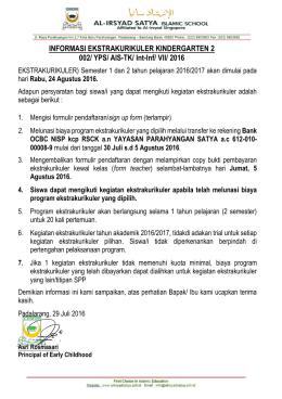INFORMASI EKSTRAKURIKULER KINDERGARTEN 2 002/ YPS