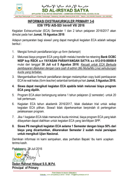 INFORMASI EKSTRAKURIKULER PRIMARY 3-6 039/ YPS/ AIS