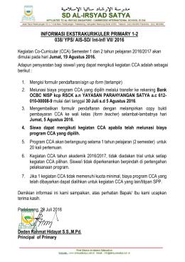 INFORMASI EKSTRAKURIKULER PRIMARY 1-2 038/ YPS/ AIS