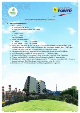 Pengumuman Rekrutmen D3 / S1 Reguler Tahap III PT.Indonesia