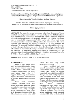 Jurnal Ilmu-Ilmu Peternakan 26 (1): 16 - 22 ISSN: 0852