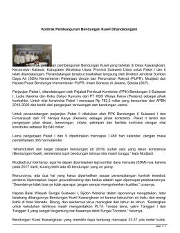 Kontrak pekerjaan pembangunan Bendungan Kuwil yang terletak di