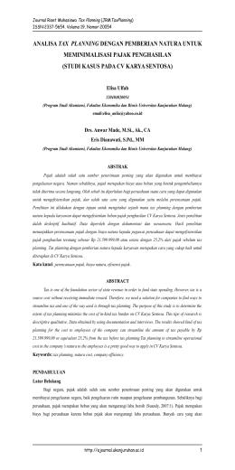 analisa tax planning dengan pemberian natura untuk - e