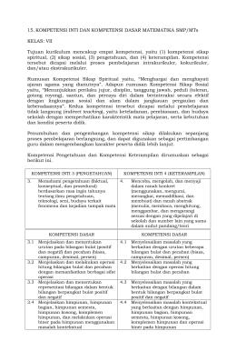 15. KOMPETENSI INTI DAN KOMPETENSI DASAR MATEMATIKA
