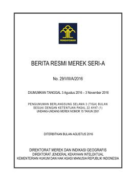 Berita Resmi Merek No. 29/VIII/A/2016