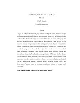 KONSEP HUDUD DALAM AL-QUR`AN Mustafa STAIN Manado