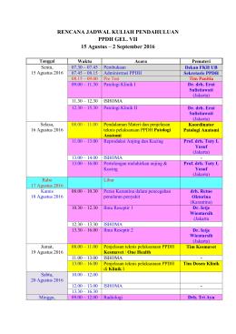 Rencana Jadwal Kuliah Pendahuluan Gelombang 7 rev 12 Agustus