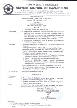 Kalender Akademik TA 2016/2017 - Universitas Prof. Dr. Hazairin