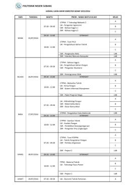 jadwal UAS Genap 2015/2016