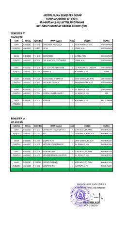 Jadwal UAS Jurusan TBI Semester Genap 2015-2016