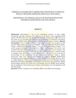 Perbedaan Adaptasi Resin Komposit dengan Bonding Berbasis