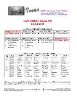 Minggu ini tgl 24 JuLi 2016 - Gereja Katolik St.Andreas Paroki Kedoya