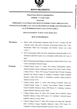 Perbup No 16 Tahun 2010 tentang Perubahan Atas Peraturan