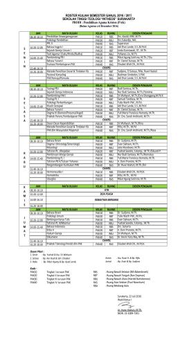 jadwal kuliah 2016 - STT Intheos Surakarta