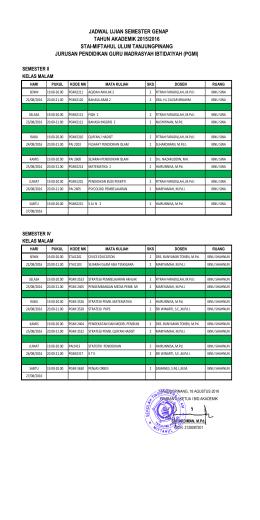Jadwal UAS Jurusan PGMI Semester Genap 2015-2016