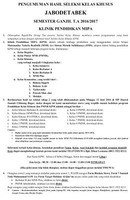 Lolos 1 PMNR - Klinik Pendidikan MIPA