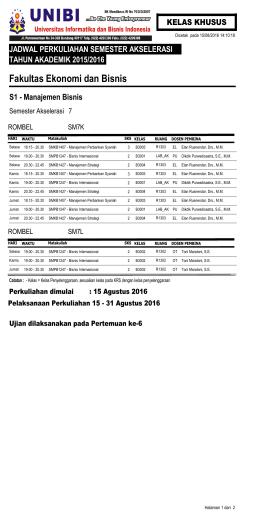 Jadwal Kuliah Khusus 2015/2016