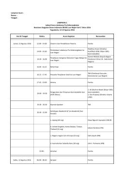 Jadwal Kegiatan Lokakarya Pra Keberangkatan BUDI LN