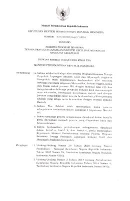 Keputusan Menteri Perindustrian Nomor 437/M