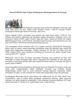 Komisi V DPR RI Tinjau Progres Pembangunan Bendungan Bendo