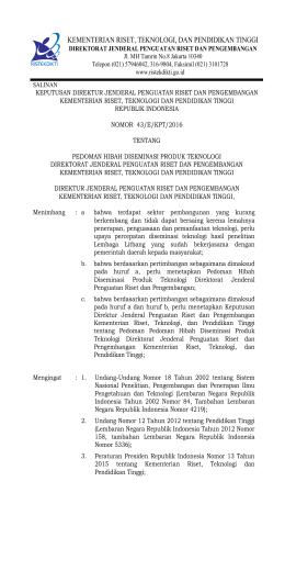 SK Pedoman Diseminasi Teknologi