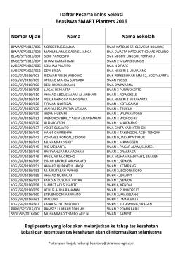 Daftar Peserta Lolos Seleksi Beasiswa SMART