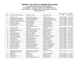 TANMOY COLLEGE OF HIGHER EDUCATION