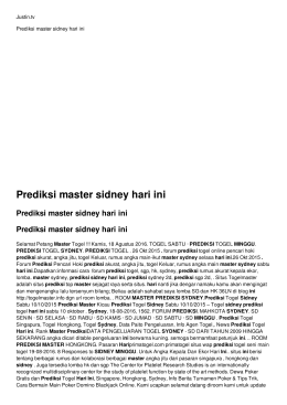 Prediksi master sidney hari ini