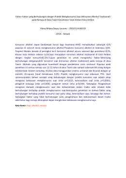 Faktor-Faktor yang Berhubungan dengan Praktik Mengkonsumsi Sopi