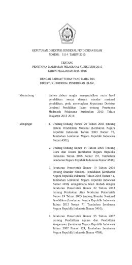 5.SK DIRJEN No. 5114 Tahun 2015 PENETAPAN MADRASAH