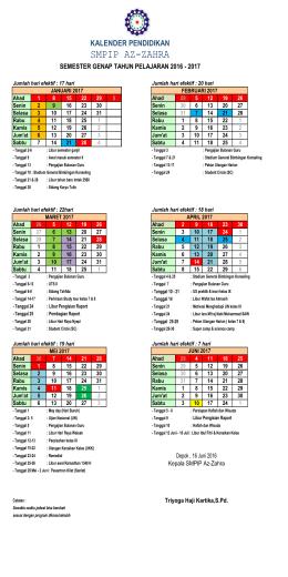 kalender 2016-2017 SMT Genap - Yayasan Pendidikan AZ