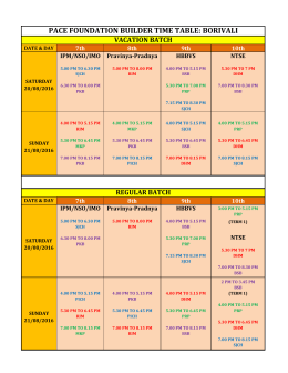 pace foundation builder time table: borivali - IIT