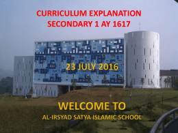 curriculum explanation secondary 1 ay 1617 - Al