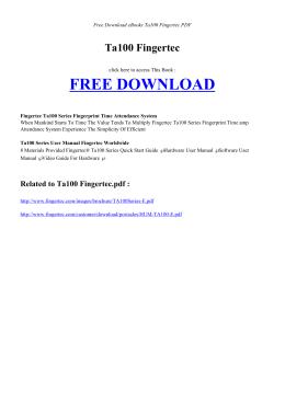 TA100 FINGERTEC - HOME | Free PDF Book