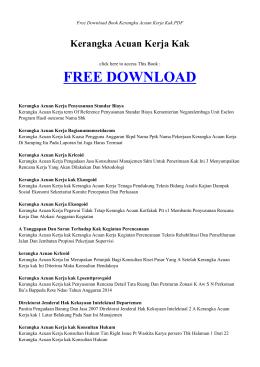 KERANGKA ACUAN KERJA KAK | Free Book