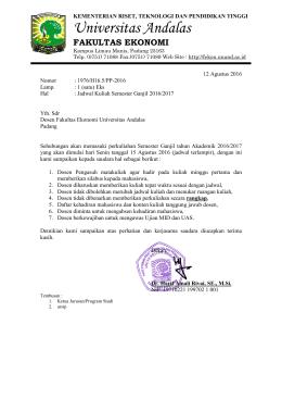 1. Jadwal Semester Ganjil Program Strata 1 TA. 2016/2017