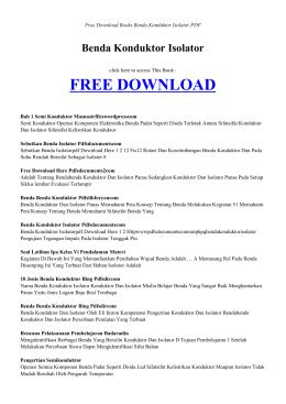 BENDA KONDUKTOR ISOLATOR | Free Books PDF
