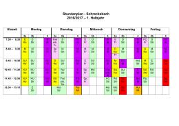 Stundenplan - Schrecksbach 2016/2017 – 1. Halbjahr